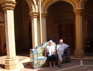 Us on tiled bench (tiles from Seville)