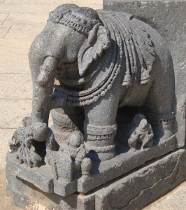Carving of elephant (symbolising strength), Somnathpur temple