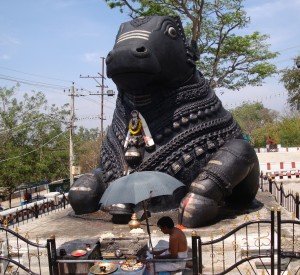Bull statue (carved out of the granite hillside), Chamundi hill