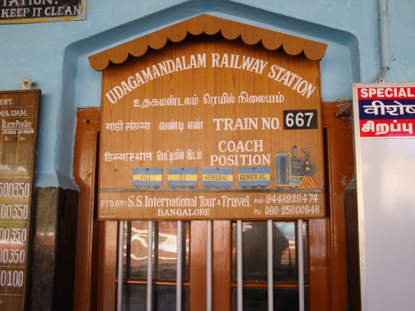 A sign at Ooty railway station