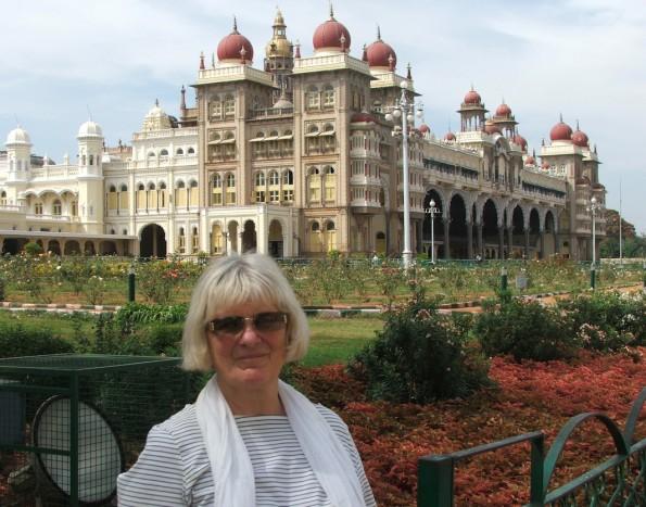 Annabel outside Mysore Palace