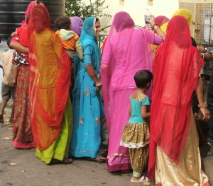 Rajasthani women at drinking fountain, Mysore Palace