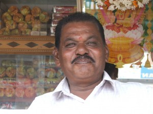 Jovial stall owner