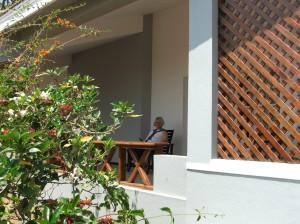Annabel enjoying the verandah