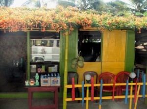 Cafe with honeysuckle on its roof