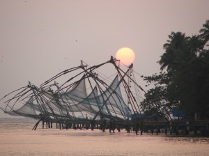 Sunset behind the Chinese fishing-nets